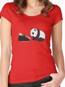 Typewriter Panda Women's Fitted Scoop T-Shirt
