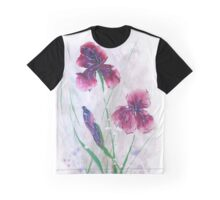 Irises in snow, painted in gouache. Graphic T-Shirt