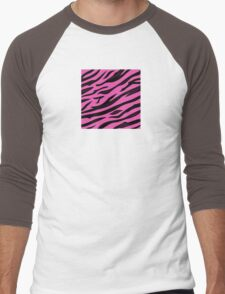 Animal background pattern - pink tiger skin texture. Background texture of pink tiger skin Men's Baseball ¾ T-Shirt
