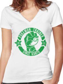Pokemon Trainer Green Logo FanArt Women's Fitted V-Neck T-Shirt