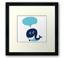 Big blue cartoon whale isolated on white. illustration of cute blue cartoon whale with speech bubble Framed Print