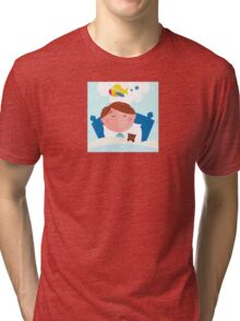 Small boy sleeping in bed and dreaming about airplane Tri-blend T-Shirt