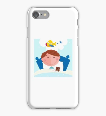 Small boy sleeping in bed and dreaming about airplane iPhone Case/Skin