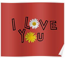 I love you on aurora red Poster