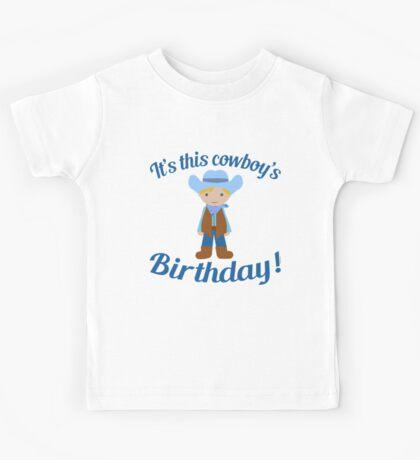 Little Cowboy Birthday Blue Eyes Blonde Kids Tee
