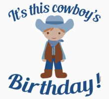 Little Cowboy Birthday Brown Eyes and Hair Kids Tee