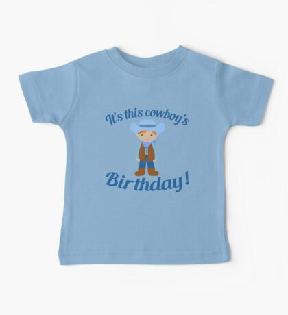 Little Cowboy Birthday Green Eyes Red Hair Baby Tee
