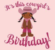 Little Cowgirl Birthday Darker Skin Black Hair One Piece - Short Sleeve