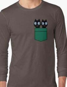 CUTE BLACK CATS IN GREEN POCKET Long Sleeve T-Shirt