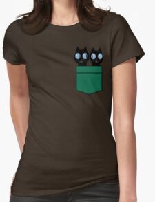 CUTE BLACK CATS IN GREEN POCKET Womens Fitted T-Shirt