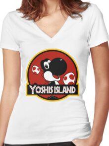 Yoshi's Jurrasic Island Women's Fitted V-Neck T-Shirt