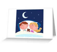 Siblings - boy and girl sleeping and dreaming in bed Greeting Card