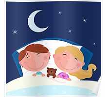 Siblings - boy and girl sleeping and dreaming in bed Poster