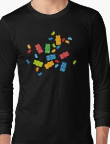 Jelly Beans & Gummy Bears Pattern Long Sleeve T-Shirt