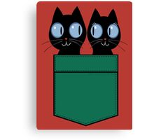 CUTE BLACK CATS IN GREEN POCKET Canvas Print