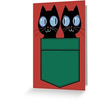 CUTE BLACK CATS IN GREEN POCKET Greeting Card