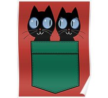 CUTE BLACK CATS IN GREEN POCKET Poster