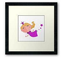 Cute Fairy Princess Character isolated on white background Framed Print