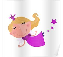 Cute Fairy Princess Character isolated on white background Poster