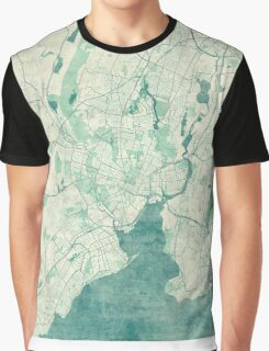 New Haven Map Blue Vintage Graphic T-Shirt