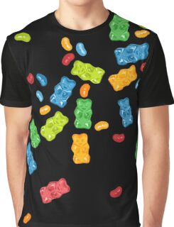 Jelly Beans & Gummy Bears Explosion Graphic T-Shirt