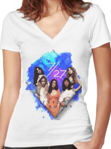 Fifth Harmony 7/27 Blue Women's Fitted V-Neck T-Shirt