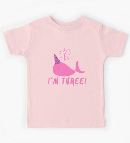 Pink Whale Birthday I'm Three! Kids Tee