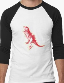 Dino Pop Art - Lime & Red T-Rex Men's Baseball ¾ T-Shirt