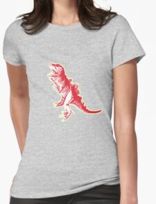 Dino Pop Art - Lime & Red T-Rex Womens Fitted T-Shirt
