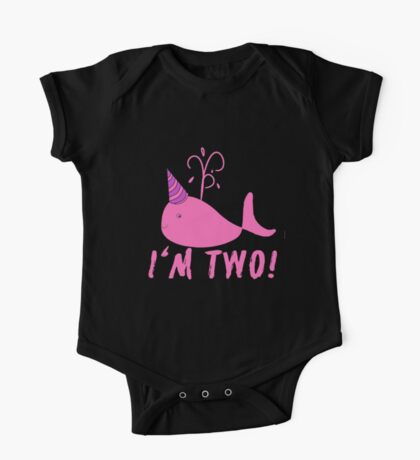 Pink Whale Birthday I'm Two! One Piece - Short Sleeve