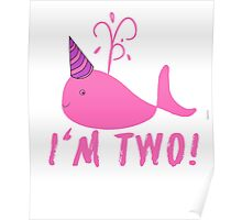 Pink Whale Birthday I'm Two! Poster