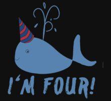 Blue Whale Birthday I'm Four! Baby Tee