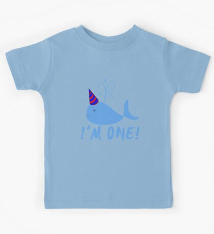 Blue Whale Birthday I'm One! Kids Tee