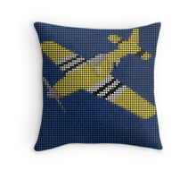 Yellow Dotted Airplane 2B Throw Pillow