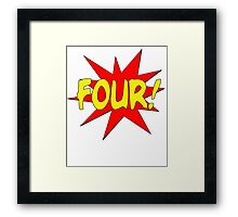Superhero Kids Birthday Comic Style I'm Four! Framed Print