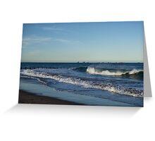 Seventeen Supply Ships Waiting - Aberdeen Scotland Beach Scene Greeting Card