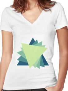 Triangle Design  Women's Fitted V-Neck T-Shirt