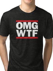 Funny RUN DMC Parody OMG WTF Tri-blend T-Shirt