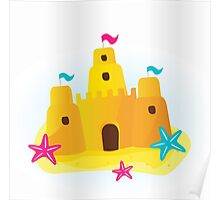 Beach sandcastle : blue, yellow and pink Poster