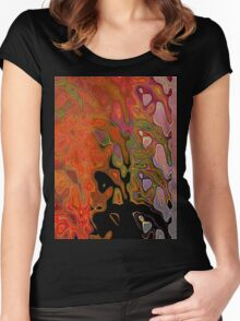 Color Abstract Women's Fitted Scoop T-Shirt