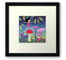 Young Minette in the land of mushrooms Framed Print
