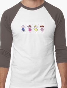 Stick figure inspired children in different characters Men's Baseball ¾ T-Shirt