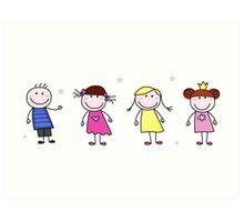 Stick figure inspired children in different characters Art Print