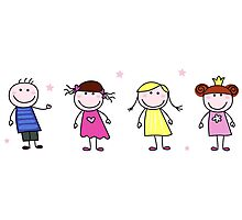 Stick figure inspired children in different characters Photographic Print