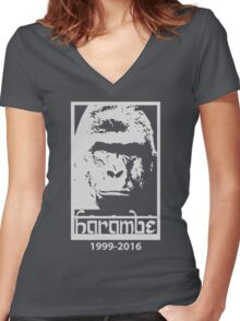 RIP Harambe 1999-2016 Women's Fitted V-Neck T-Shirt
