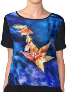 Autumn leaves floating on dark blue water of Blue Spring State Park in Florida Chiffon Top