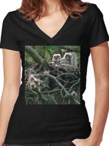 Great Horned Owl Chicks Women's Fitted V-Neck T-Shirt