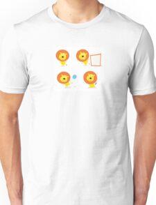 Cartoon illustration of cute safari lion character: single Lion Unisex T-Shirt