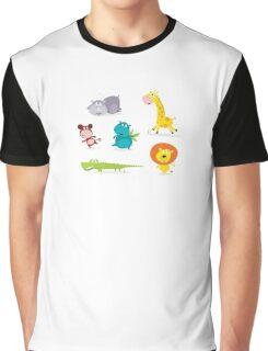 Cartoon illustration of six cute safari animals - Giraffe, Hippopotamus, Rhinoceros, Crocodile, Lion and Monkey Graphic T-Shirt