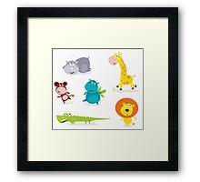 Cartoon illustration of six cute safari animals - Giraffe, Hippopotamus, Rhinoceros, Crocodile, Lion and Monkey Framed Print